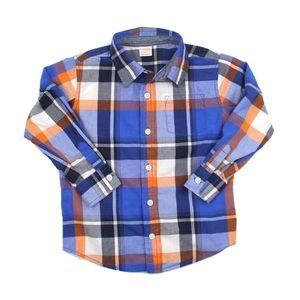 Gymboree Navy and Orange Plaid Shirt in Size 4T